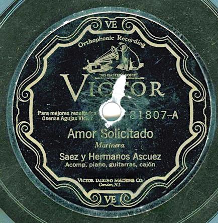 RCA Victor - Amor Solicitado - Marinera - Saez y Hermanos Ascuez